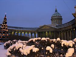 Kazan cathedral in St. Petersburg in winter