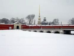 The St. Peter and St. Paul fortress overlooking the frozen river Neva