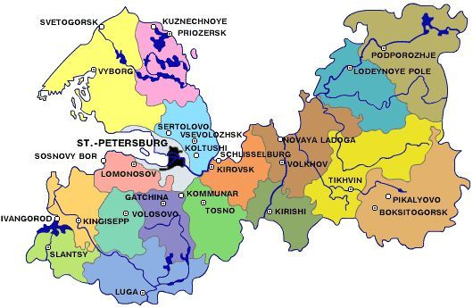 Map of administrative division of St. Petersburg  Region (official name: Leningrad Region)