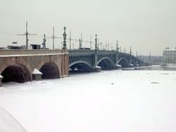 Holy Trinity Bridge on the frozen Neva